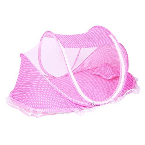 ThreeH Tienda plegable de la playa de la cuna del viaje del verano del bebé BX04,Pink