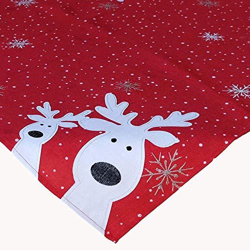 Kamaca Serie LUSTIGE Elche mit neugierigen Elchen und Schneeflocken Filigrane Stickerei Eyecatcher Winter Weihnachten (rot, Tischdecke 110x110 cm)