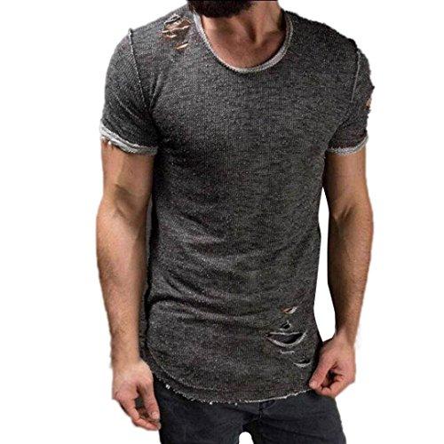 Herren Shirts,Frashing Männer Mode Runde Kragen Loch Tees Shirt Kurzarm T Shirt Bluse Herren T-Shirt Basic Regular Destroyed Zerrissen Meliert (L, Grau)