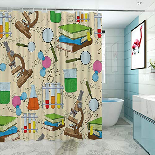 Yahonwa Kids Room Decor Printed Shower Curtain, Science Education Lab Sketch Books Equation Loupe Microscope Molecule Flask Personalized Drapes for Stall Bathtub, 69' W x 84' L Multicolor