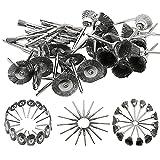 45 piezas mini cepillo de alambre de rueda de alambre de acero inoxidable giratorio pequeño conjunto de cepillos de alambre accesorios para mini taladro herramientas rotativas-predeterminado