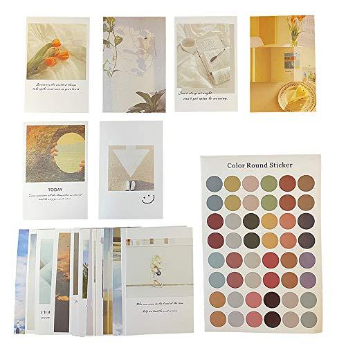 ポストカード イラスト 30枚セット ステッカー付 おしゃれな韓国スタイル デザイン インテリア 写真 カード はがき 壁飾り