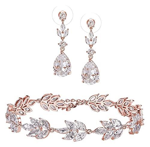 Lzpzz Pendientes y pulseras de oro rosa con circonita cúbica, joyería de novia para mujeres, damas de honor, novias
