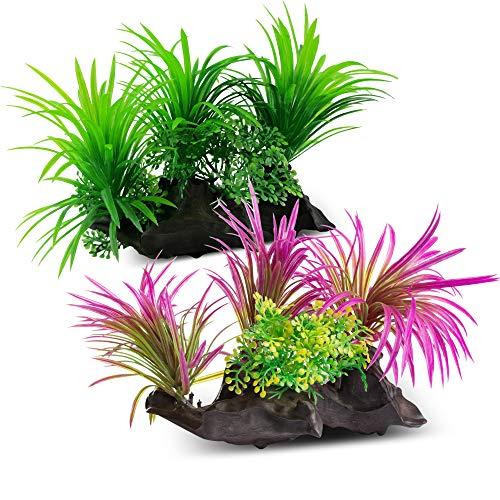 AroPaw Aquarium Decorations Lifelike Plastic Decor Fish Tank Plants 2 Pcs Green/Purple