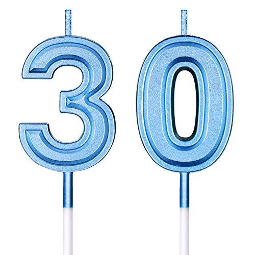 Candele di Compleanno 30 ° Numero Candele Buon Compleanno Torta Topper Decorazioni per Compleanno Nozze Anniversario Celebrazione Articoli (Blu)