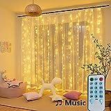 Lichterketten, Vorhang, 150 LEDs, 2m x 2m, Musikmodus, 8 Beleuchtungsmodi