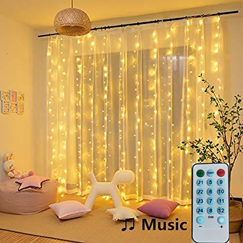 Lichterketten, Vorhang, 150 LEDs, 2 m x 2 m, Musikmodus, 8 Beleuchtungsmodi, niedrige Spannung, Dekoration für Fenster, Weihnachten, Hochzeit, Geburtstag, Haus, Patio, wasserdicht, IP44 Warmweiß