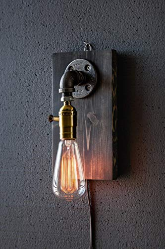 Plug in Down Facing Industrial Steampunk wall sconce pipe lamp with classic Edison bulb