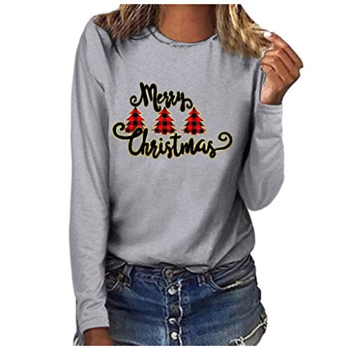 Andouy Damen Fröhliche Weihnachten Pullover Drucken Sweatshirt Freizeit Rundhals Tops Bluse(3XL.Grau-3)