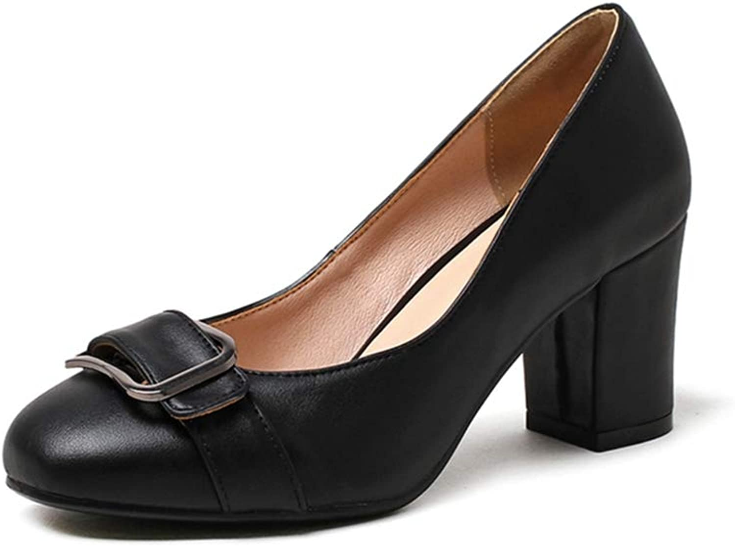 GIY Women's Square Toe Loafers Pump Chunky Block High Heel Slip On Comfy Work Uniform Dress Oxford shoes