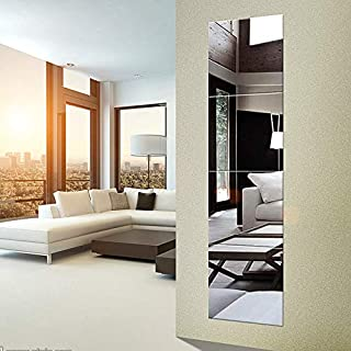 EDGEWOOD Parkwood Wall Mirrors Flexible Real Glass Flat Frameless 4-Piece Set, 11.5×11.5 Inches