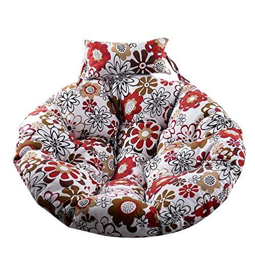 WTT Rond hangend ei-zitkussen, verdikte wasbare verwijderbare hangende stoel achterkant met kussen voor vervangend tuinkussens 105 x 105 cm (41x41 inch)
