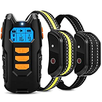 Flittor Dog Training Collar Shock Collar for Dogs with Remote 2 Receiver Rechargeable Dog Shock Collar 3 Modes Beep Vibration and Shock Waterproof Bark Collar for Small Medium Large Dogs