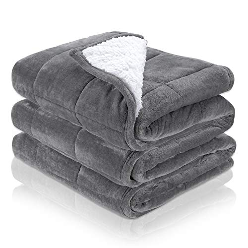 Noahas Weighted Blanket for Adults Sherpa Fleece Blanket Dual Sided Fluffy Blanket with Soft Plush Flannel Ultra Luxurious Fuzzy Throw Blanket fit Couch Bed Sofa, 15 lbs, 48'x72', Grey