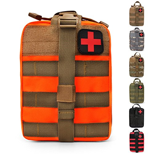 HX OUTDOORS Tactical Molle Rip-Away EMT Medical First Aid IFAK Lifesaving Pouch,Outdoor Medical Package,Mountaineering/Climbing Rescue Tools Package Made of 600D Waterproof Fabric (Orange)