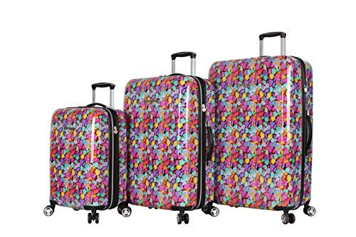 Betsey Johnson Designer Luggage Collection - Expandable 3 Piece Hardside Lightweight Spinner Suitcase Set - Travel Set includes 20-Inch Carry On, 26 inch and 30-Inch Checked Suitcase (Candy Heart)