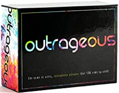 "HOTTEST NEW PARTY GAME: Outrageous is a hot new party game, where players use their creativity to come up with witty, unique, and hilarious answers to modern-day prompts. Outrageous adapts to any audience, and can be family-friendly, or wild and ""adu..."