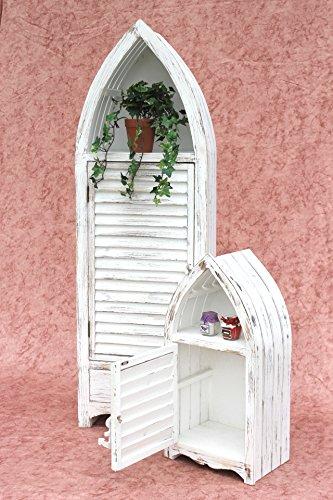 DanDiBo Boot Schrank 2er Set 120001 Regal 60 und 123 cm Badregal Shabby Badschrank Weiß