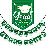 Bandera de Graduación de 2021, Bandera de Graduación de No Se Requiere Bricolaje Decoración Fiesta de Felicitación para Suministros Fiesta Universidad, Escuela Secundaria (Verde)