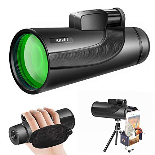 Monocular Telescope with Smartphone Holder Tripod High Definition 12X50 High Power Waterproof Monocular Zoom BAK4 Prism for Bird Watching Hunting Camping Travelling Wildlife Secenery