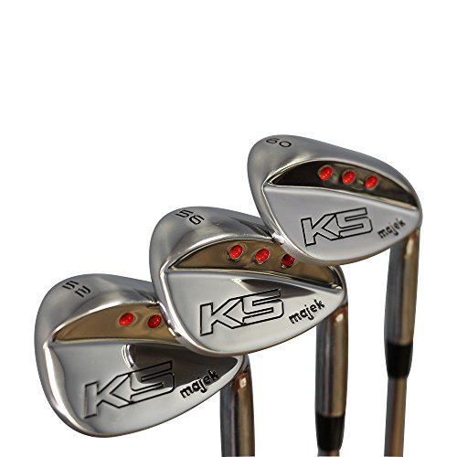 Majek Golf Men's Complete Wedge Set: 52° Gap Wedge (GW), 56° Sand Wedge (SW), 60° Lob Wedge (LW) Right Handed Regular Flex Steel Shaft
