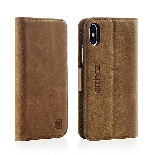 archaz iPhone X/iPhone Xs Wallet Case - Premium Leather Case for iPhone X/Xs - Flip Cover with Magnetic Latch Closure - Adjustable Viewing Stand - Compatible with Wireless Charger (Brown)