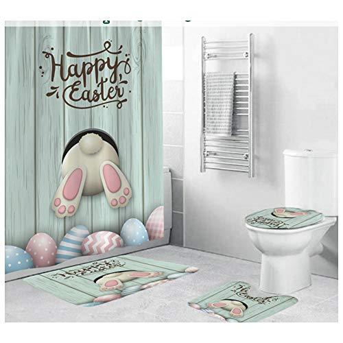 Duschvorhang Badezimmermatten Set 4tlg Ostern Hase Muster, Sayla Duschvorhang /Sockelteppich /Toilettensitzbezug /Badematte,Anti Rutsch Matten Set Badematten rutschfeste Samt Waschbar Bad Wc Teppich