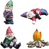 Mini Garten Gnome Statue,Zwerge Ornamente Kunstharz Elf Figurines Miniaturen Skulptur für Wohnkultur Landschaftsbau,Wunderliche Betrunken Gartenzwerg Statuen Außendekoration-Vier zwerge One size