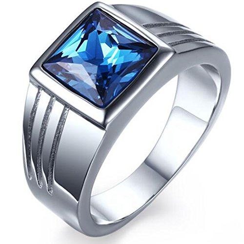 Jude Jewelers Stainless Steel Square Cut Blue Gemstone Ring (Blue, 9)
