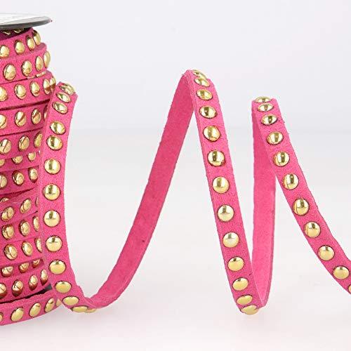Velourslederimitat, mit Nieten, Pink, Meterware