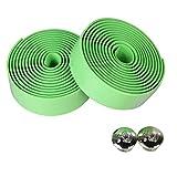 tyrrdtrd 2 cintas para manillar con enchufe de barra, para bicicleta de montaña, ciclismo de carretera, agarre antideslizante para manillar de bicicleta, color verde