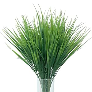 Artificial Plants 8pcs Artificial Plastic Wheat Grass for Indoor Outside Home Garden