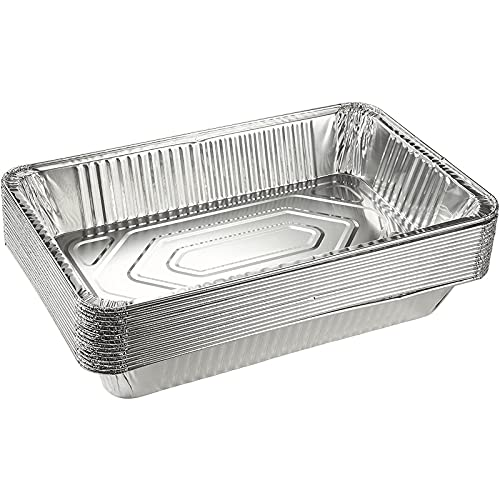 15 Pack Disposable Aluminum Foil Pans, 21×13 Trays for Full Size Steam Table