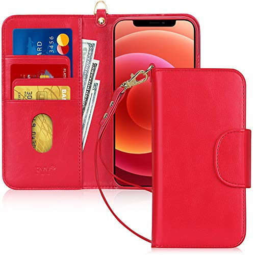 Fyy - Custodia a portafoglio per iPhone 12 Max/12 Pro, realizzata a mano, in pelle sintetica, antiurto, con porta carte di credito, tasca per banconote, colore: Rosso