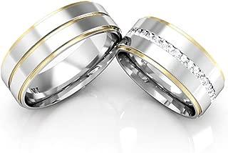 Alianças Namoro De Prata Friso Banhado A Ouro Linha Carrê