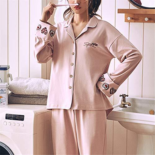 Nachtwäsche Damen Schlafanzug Kurz Pyjama Sleepwear Sets Zweiteilige Negligee,Baumwollpyjama XL mit Langen Ärmeln A-6 XXXL