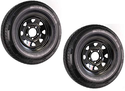 2-Pk Trailer Tire On Rim ST175/80R13 175/80 13 LRD 5-4.5 Black Spoke Wheel 3.19