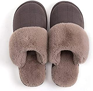 YANGLAN Men's Slippers Women's Slippers Warm Winter Shoes Large Size Plush Slip Shoes Family Floor Indoor Couple Slippers Household slippers (Color : E, Size : (39-40))