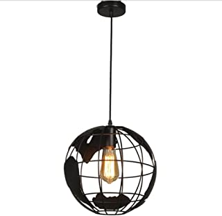 ATC Earth Shape Globe Map Shade Pendant Light Fixtures Industrial Vintage Style Simple Wrought Iron Chandelier Lighting Cr...