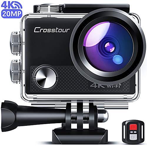 Crosstour CT9000 Action Cam 4K 20MP WiFi Action Camera(Fotocamera Subacquea Impermeabile 40M con Telecomando, 170 ° Grandangolo e Correzione Della Deformità, Kit di Accessori)