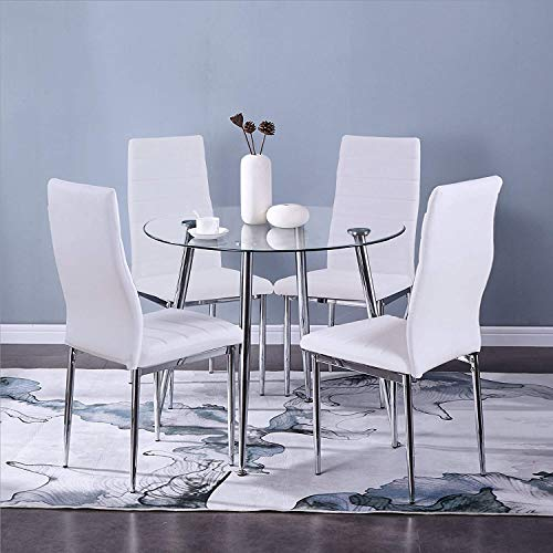 GOLDFAN Glass Dining Table and Chairs Set 4 Round Kitchen Table and High Back Faux Leather Chairs Dining Table Set,White