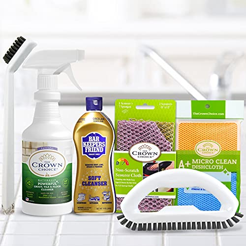 Soft Cleanser and Natural Tile Grout Cleaner Big Cleaning Supplies Bundle – Tile, Granite, Ceramic, Porcelain, Floors, Grout, Tiles, Rust, Copper, Brass – Barkeepers Set