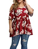 Allegrace Women's Plus Size Sexy V Neck Open Back Tops Floral Print Cold Shoulder Pleated Flowy T Shirts P42 Pink-Flowers Wine Red 2X