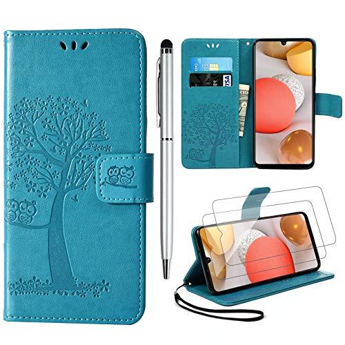 Yiscase Handyhülle für Samsung Galaxy A42 5G Hülle, Galaxy A42 5G Klapphülle Hülle PU Leder Flip Wallet Schutzhülle + Schutzfolie + Touch Stylus Pen für Samsung Galaxy A42 5G Tasche, Blau