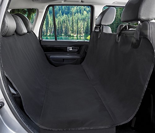 BarksBar Original Pet Seat Cover for Cars - Black, WaterProof & Hammock Convertible (Standard,...