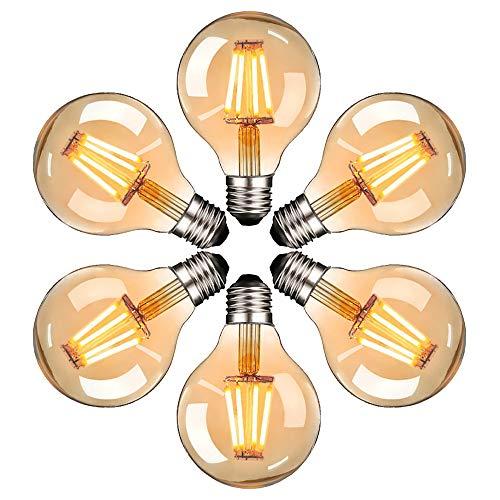 Edison Vintage Glühbirne, Massway LED Vintage Glühbirne E27 G80 4W Warmweiss Antike Filament LED Glühlampe, Ideal für Nostalgie und Retro Beleuchtung im Haus Café Bar - 6 Stück