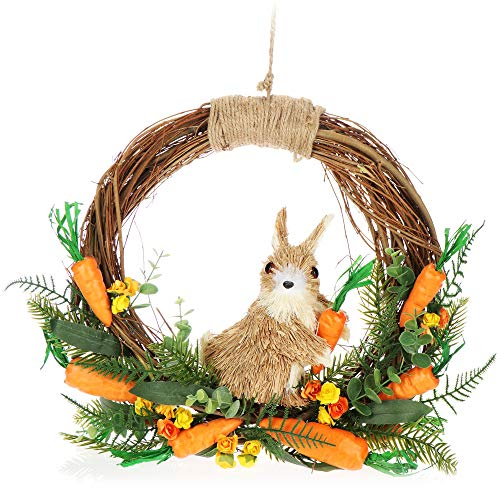 com-four® Colgante de decoración de Pascua - Corona con Flores de Pascua Natural - Adornos de Pascua de decoración - Flores de Pascua con Huevos (Orange - mit Hase)