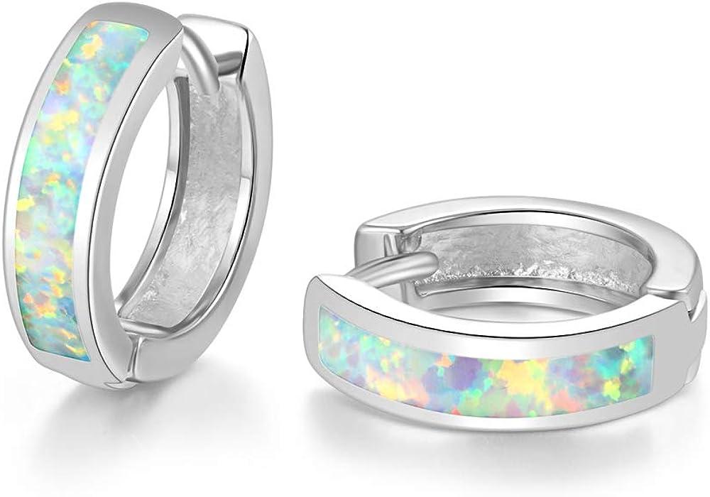CiNily Huggie Earrings Max 69% OFF Opal Hinged Gold Japan Maker New Sma Hoop Plated