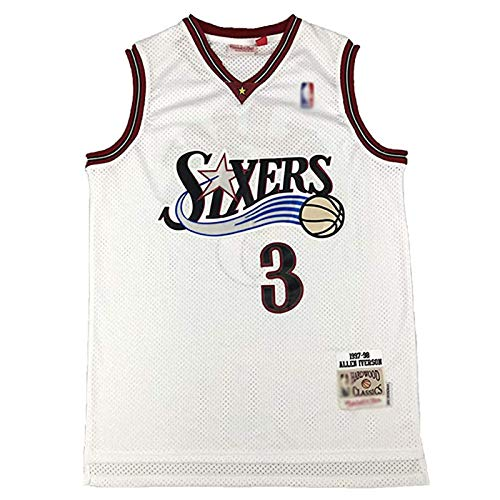 CLKJ #3 76ers Allen Iverson Basketballtrikot, Herren Retro-Trikot, atmungsaktiv, bequem, Sweatshirt T-Shirt, das beste Geschenk für Fans, Farbe G, M