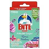 WC-Ente Relleno de sello fresco, sin cestas, 12 piedras de inodoro, aroma floral Fantasy, 2 unidades (2 x 36 ml)